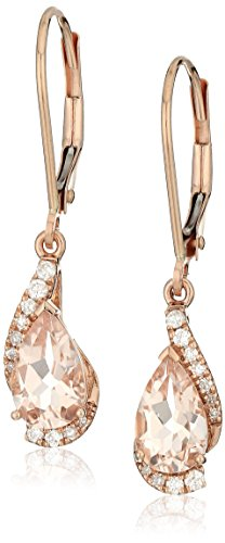 14k Rose Gold Pear Shaped Morganite with Diamond Accent Drop Earrings (1/10cttw, I-J Color, I2-I3 (Diamond Accent Drop)
