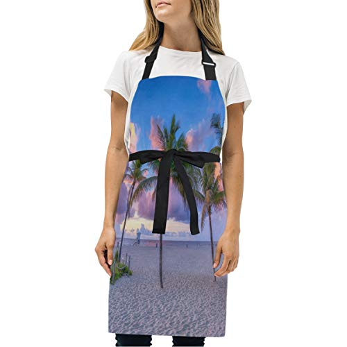 HJudge Womens Aprons Coconut Tree at Pompano Beach Kitchen Bib Aprons with Pockets Adjustable Buckle on Neck