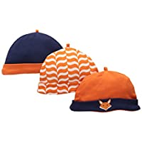 Yoga Sprout Baby-Boys Caps Fox, Fox, 0-6 Months (Pack of 3)