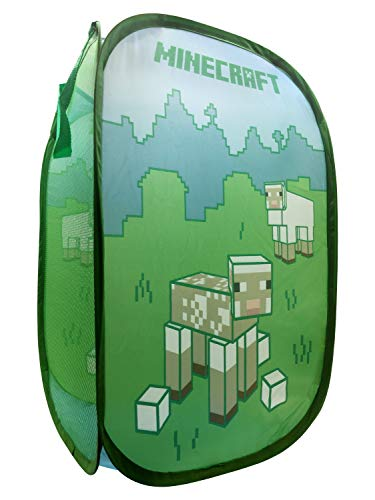 Jay Franco Minecraft Shorn Sheep Pop Up Hamper - Mesh Laundry Basket/Bag with Durable Handles, 22