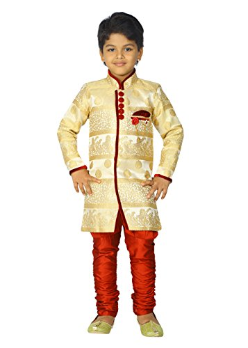 ahhaaaa Kids Ethnic Indian Festive and Party Wear Sherwani and Breeches Set for Boys