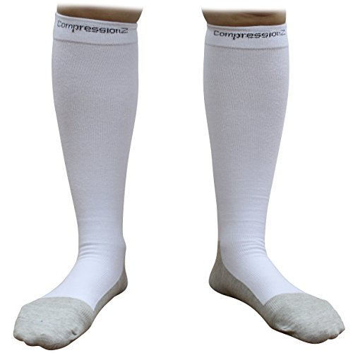 Compression Socks 30-40mmHg (1 Pair - White XL) - Best High Performance Athletic Running Socks - Men & Women (Mens White Ankle Socks Xl)