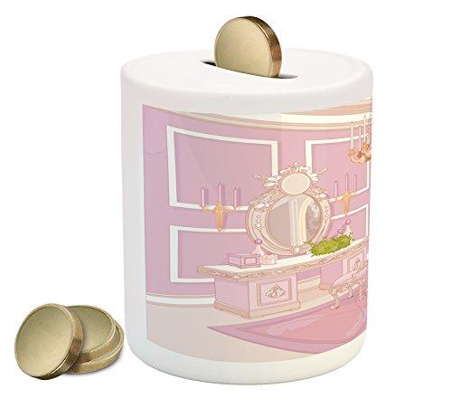 Cheap  Lunarable Teen Girls Piggy Bank, Princess Dressing Room View in Antique Palace..