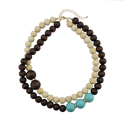 Firstmeet 2 Layer Statement Wood Mix Color Beads Turquoise 20