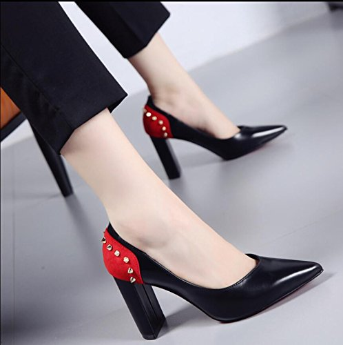 KHSKX-The Korean Version Of The Black 8.5Cm Thick With The Women'S Singles Shoes Autumn New Tip Rivets Paste Color Light Is Fine With The High-Heel Shoes 38 oY0ZFM7YO3