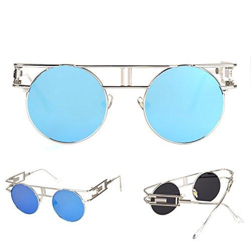 Réfléchissantes Femmes Sunglasses de Bleu Extérieures à Steampunk Cadre Lens Lunettes Hommes Argent Flash soleil Gothiques miroir X4qgS
