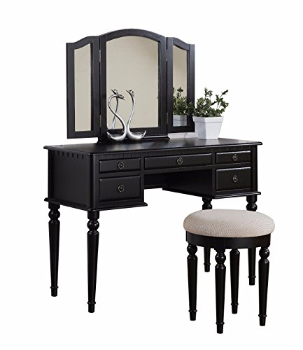 NEW Black, Wanut, Poundex Furniture Vanity Set with Stool Rubber Wood, Medium-Density Fibreboard, Birch Veneer by Vanities & Makeup Tables