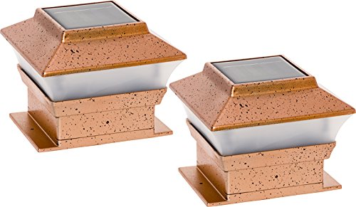 GreenLighting 2 Pack Solar Square Outdoor Post Cap Deck Lights for 4x4 (Copper)