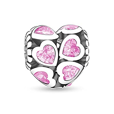 Glamulet All Pink Hearts Shape Charms 925 Sterling Silver Love Beads Fits for Pandora Charm Bracelets from Glamulet