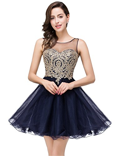 Beadings Cocktail - MisShow Applique Short Tulle Beading Cocktail Dress New Years Eve,362 navy Blue,14