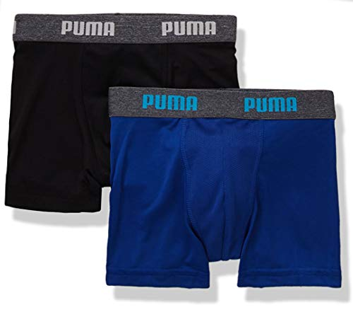 PUMA Boys' Socks and Underwear Packs (Medium, Two Pack Coolcell Blue/Black) ()