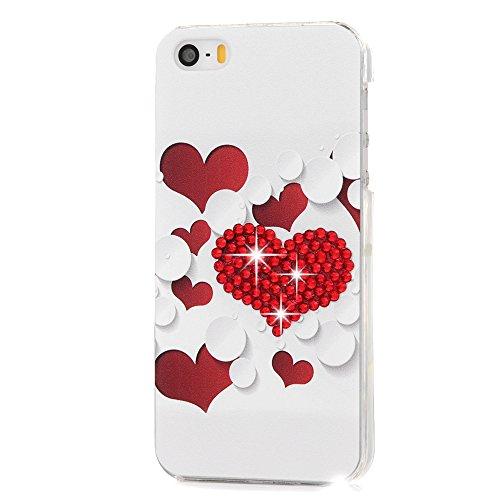 Mavis's Diary Coque iPhone 5/iPhone 5S/iPhone SE PC Rigide Bling Strass Cœur Dessin Housse de Protection Étui Téléphone Portable Phone Case Cover+Chiffon