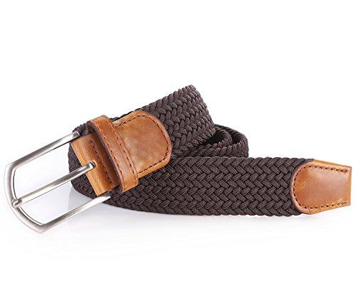 Review Weifert Men's Stretch Woven 1.3″Wide Elastic Braided Belts (49-52, Coffee)