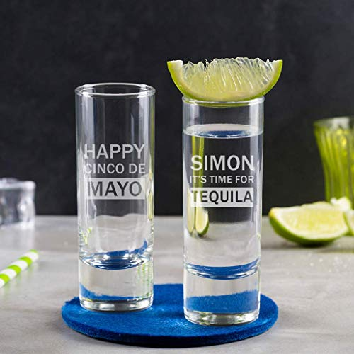 Personalized 2oz Shot Glass - Cinco De Mayo Party Supplies - Fiesta Tequila Gifts ()