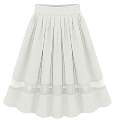 Esast Women Pure Color Swing Casual Retro Ruched/Pleated Lined High Waisted Skirt