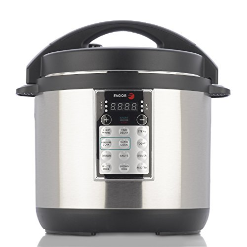 Fagor LUX Multi-Cooker, 6 quart, Electric Pressure Cooker, Slow Cooker, Rice Cooker, Yogurt Maker and more, Silver  - 670041880