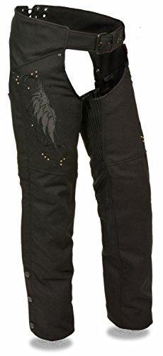 Milwaukee Leather Women's Textile Chap w/ Wing & Rivet Detailing (Black, XL)