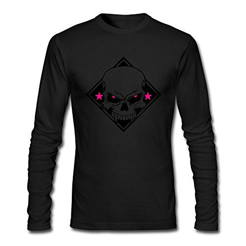 Men's Custom Evil Skull T-Shirt Casual Slim Fit Crew Neck Long-Sleeve Tee