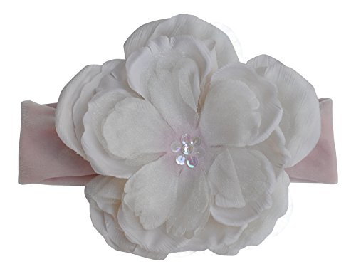 PLH Bows Large Peony Flower with Sequin Center on Velvet Headband (Ivory/Pink) (Peony Sequins)