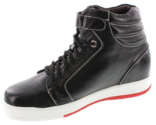 calto-g71806-7,6cm Grande Taille-Hauteur Augmenter Chaussures ascenseur (Noir Montantes Sneakers)