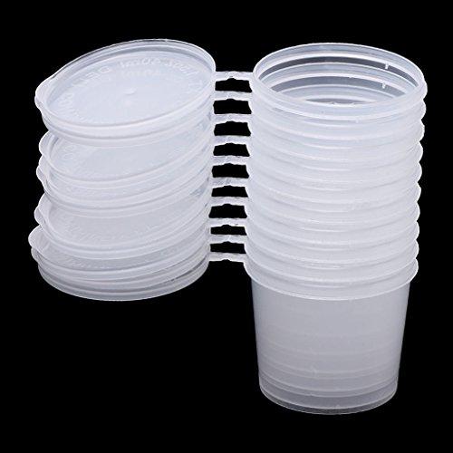 Tebatu Plastic Disposable Sauce Cup Clear Salad Dressing Food Storage Containers + Lids by Tebatu (Image #2)