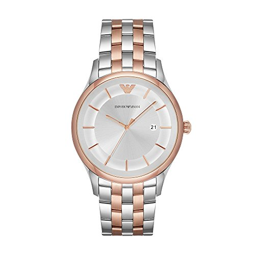 Emporio Armani Men's Quartz Stainless Steel Dress Watch, Color:Silver-Toned (Model: AR11044)