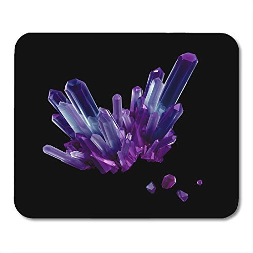 Boszina Mouse Pads Quartz 3D Render Abstract Purple Amethyst Crystal Faceted Gem Rough Nugget Digital Black Beautiful Mouse Pad for notebooks,Desktop Computers mats 9.5