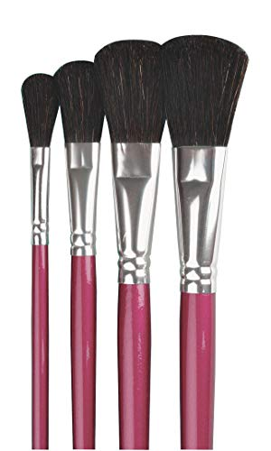 Sax True Flow Chubby Oval Wash Easel Paint Brushes, Assorted Sizes, Set of 4
