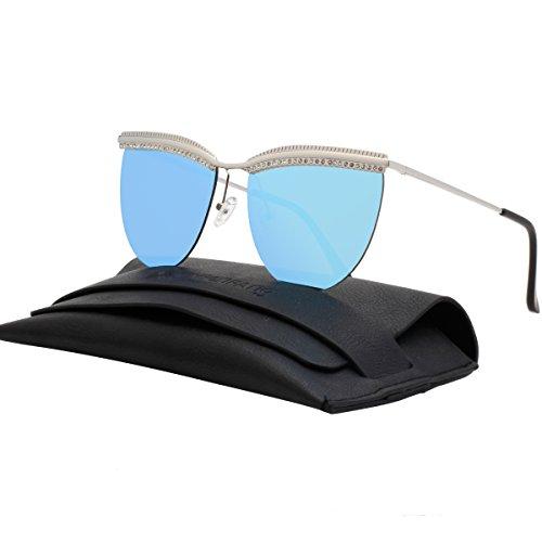 Blue Diamond Mirror Lens (VIVIENFANG Rimless Diamond Eyebrow Oversized Sunglasses Flat Mirror Lens Shades For Unisex G87509A Blue)