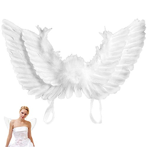 happyyous adultos y niños pluma alas de hada para disfraz de Navidad Halloween Día de San Valentín Noche accesorio de...