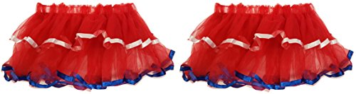 Set of 2 Red Patriotic Dress Up Skirts! Elastic 9