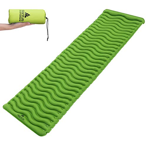 Hikenture Ultralight-Backpacking-Sleeping-Pad-Mat Skin-Friendly Fabric Camping Pad,Compact Lightweight Upgraded Wavy Design Air Support, for Sleeping Bag,Car,Outdoor,Camp,Hammock (Green) For Sale