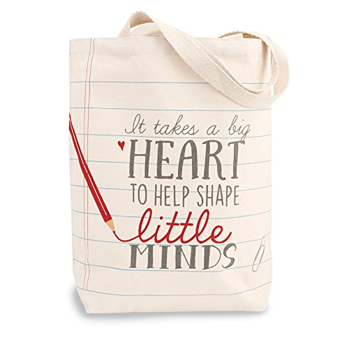 Mud Pie 4035006H Heart Teacher Canvas Tote