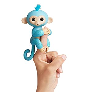 Fingerlings Glitter Monkey (Amazon Exclusive) - Amelia (Turquoise Glitter + Bonus Blankie) - Interactive Baby Pet - By WowWee
