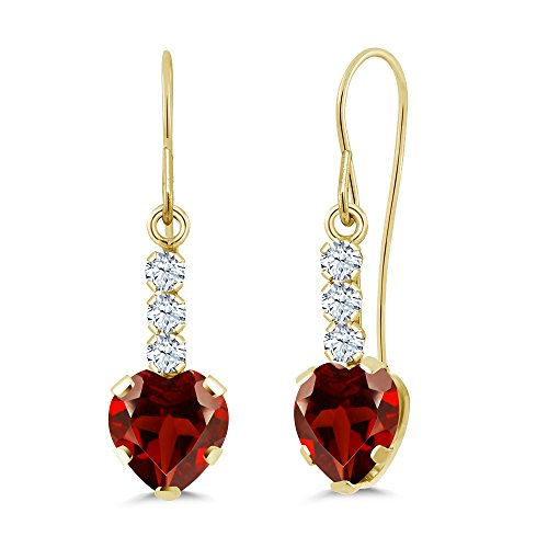 Gem Stone King 1.98 Ct Heart Shape Red Garnet 14K Yellow Gold Earrings 14k Garnet Heart Earrings