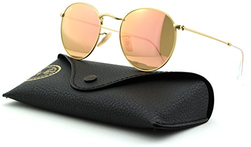 Ray-Ban RB3447 Round Metal Mirror Unisex Sunglasses (Matte Gold Frame/Brown Mirror Pink 112/Z2, - Raybans Metal Round