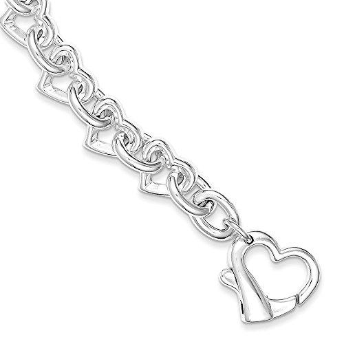 (.925 Sterling Silver Polished Fancy Heart Link Bracelet 7.50 inches)