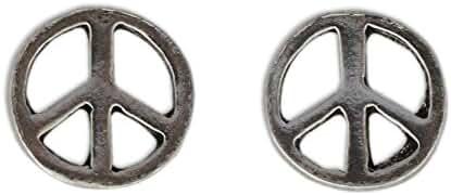 NOVICA .925 Sterling Silver Stud Earrings 'Peace Sign'