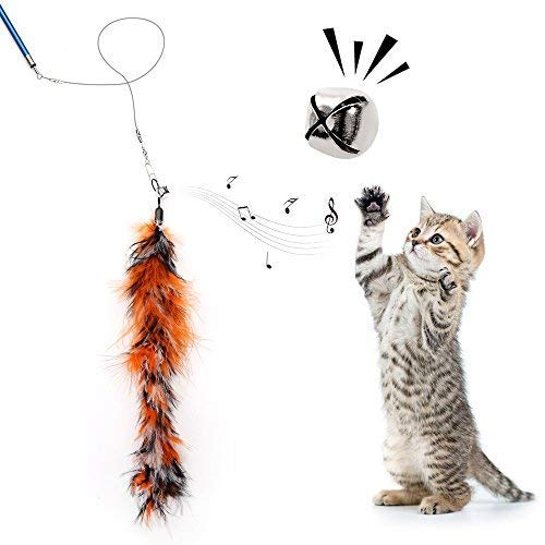 Becory Feather Teaser Cat Toy, Retractable Cat Feather Toy Wand with 5 Assorted Teaser with Bell Refills, Interactive Catcher Teaser for Kitten Or Cat Having Fun Exerciser Playing 5