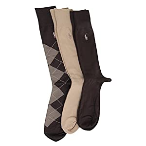 Polo Ralph Lauren Set of Three Men's Dress Socks: Brown, Tan, Argyle (Size 10-13)
