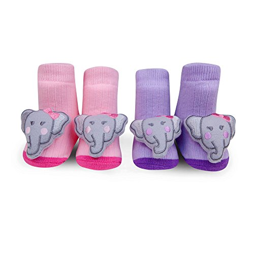 Waddle and Friends Baby Girls Elephant Rattle Socks Light Pink Purple 0-12 Mths