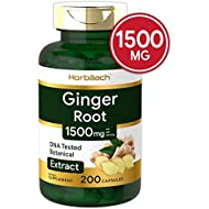 Ginger Root Capsules 1500 mg | 200 Pills | DNA Tested, Non-GMO, Gluten Free | Ginger Root Extract | by Horbaach