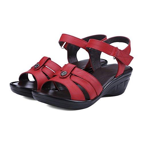 AllhqFashion Mujeres Plataforma Sólido Velcro Material Suave Puntera Abierta Sandalia Rojo