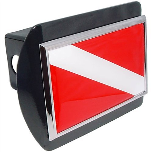 Innovative Scuba Concepts AU5463 Trailer Hitch Chrome Plated Scuba Diver Down Flag With All-Metal Construction