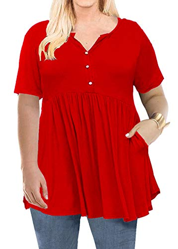 (Women's Plus Size Henley V Neck Button up Tunic Tops Casual Short Sleeve Blouse Shirts Red 3XL)