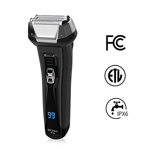 BriGenius Men's Electric Foil Shaver, USB Rechargeable Cordless Electric Razor with Pop-Up Beard Trimmer, Wet Dry Shaver 3 Blades
