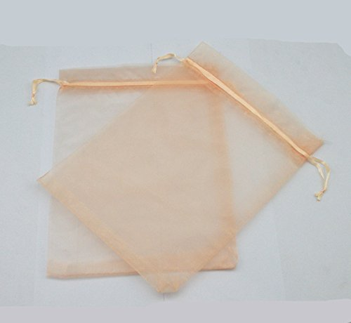 AEAOA 50 Pcs 6x8 Inch Organza Bags Drawstring Wedding Favor Bags Organza Gift Pouches Bags for Wedding Jewelry Party (Peach)