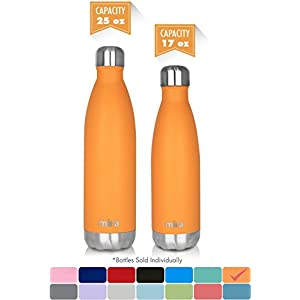 MIRA 17 Oz Stainless Steel Vacuum Insulated Water Bottle | Leak-proof Double Walled Powder Coated Cola Shape Bottle | Keeps Drinks Cold for 24 hours & Hot for 12 hours | 500 ml Pumpkin