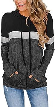 ELF QUEEN Women's Spring Summer Fall Long Sleeve Hooded T Shirt Top Comfy Non See Through Casual Drawstrin