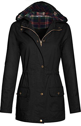 bodilove-womens-plaid-hooded-drawstring-waist-utility-jacket-black-l